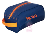 Traveler Case, Personalized Navy Nylon with Orange Trim