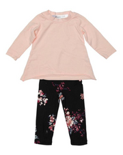 Joah Love, Pink Long Sleeve and Flower Legging 2 piece Set