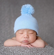 Newborn Hospital Hat, Blue with Pom Pom