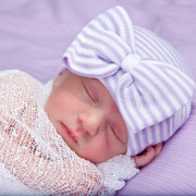 Newborn Hospital Hat, Lavender and White Stripe with Bow