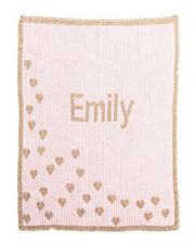 Personalized Stroller Blanket, Sprinkled Hearts Metallic