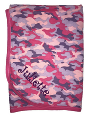 Personalized Stroller Blanket, Fuschia Camo Thermal