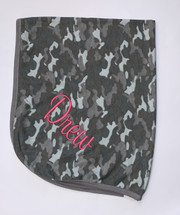 Personalized Stroller Blanket, Heather Grey Camo Thermal