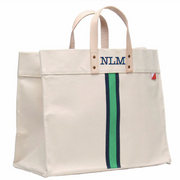 Tote Bag, Green and Navy Stripe