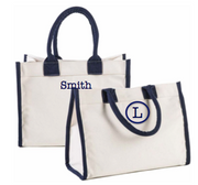 Tote, Natural Bag with Navy Detailing
