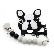 Baby Teether, Boston Terrier Black and White