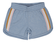 Tiny Whales, Blue Shorts with Stripes