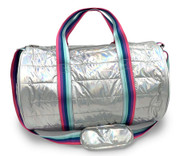 Duffle Bag, Metallic Puffer with Decorative Straps