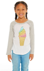 Chaser, Rainbow Ice Cream Cone Long Sleeve Tee with Ruffles