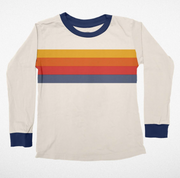 Tiny Whales, Natural Long Sleeve Tee with Stripes