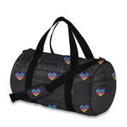 Duffle Bag, Black with Stripe Hearts