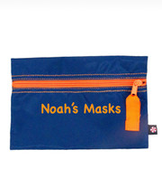 Personalized Small Zip Bag, Navy And Orange Nylon