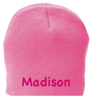 Personalized Kids Beanie Hat, Hot Pink