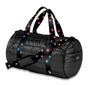 Duffle Bag, Black Puffer with Multi Colored Stars on Straps