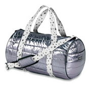 Duffle Bag, Pewter Puffer with White Straps and Grey Stars