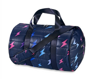 Duffle Bag, Navy Puffer with Multi Colored Lightening Bolts