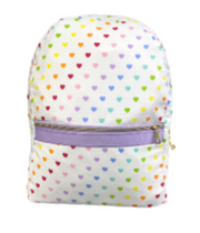 Small Backpack, Personalized Seersucker Hearts