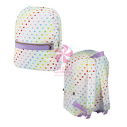 Large Backpack, Personalized White Seersucker Hearts