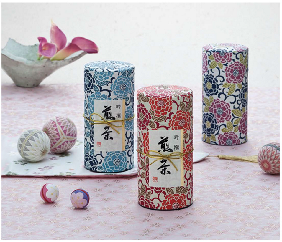 Washi Yuzen Japanese Paper Wrapped Canisters