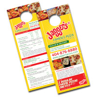 "4.25"" x 11"" Die Cut Door Hangers on 14PT with UV"