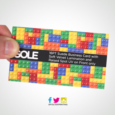 Raised Spot UV Suede Business Cards print by wwwFoiltekprintingcom