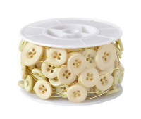 Decorative Button Wire - Champagne Buttons with Gold Wire
