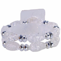 Floral Corsage Bracelet – Clear Crackle Glass Beads - Polaris Collection