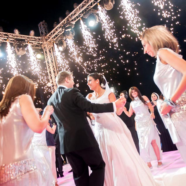 Sparklers point down for exciting wedding decor
