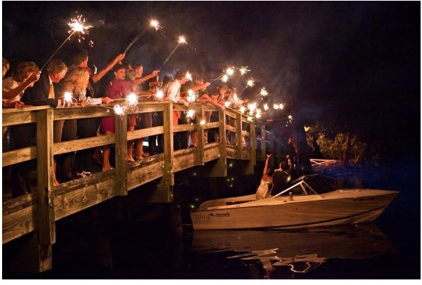 Wedding Sparkler send off for a boat exit
