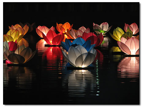 Floating paper chinese sky lanterns