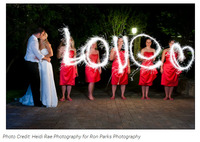 Wedding sparklers spelling LOVE