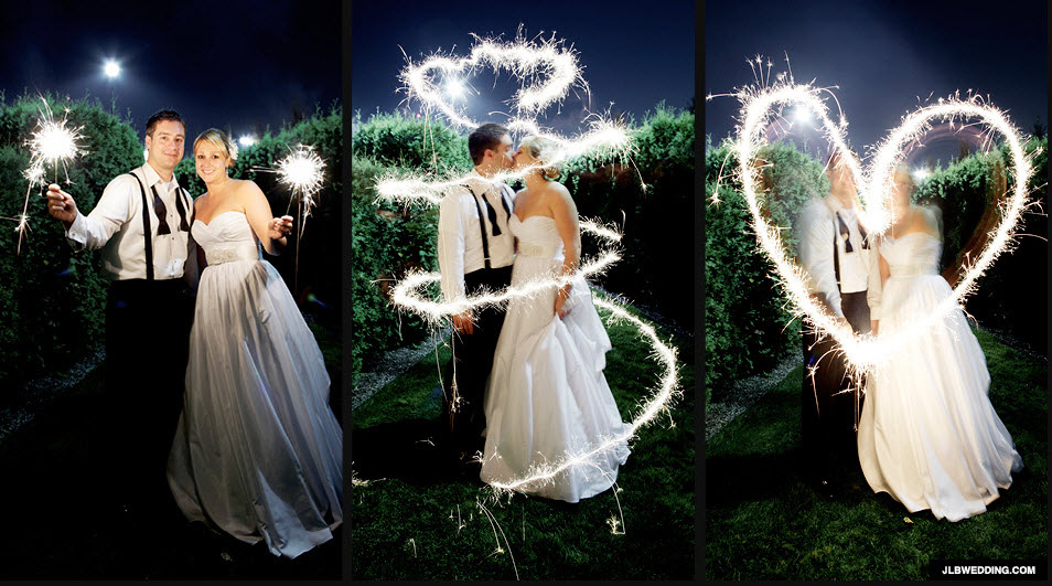 Surrounding Bride & Groom with Wedding Sparkler Heart
