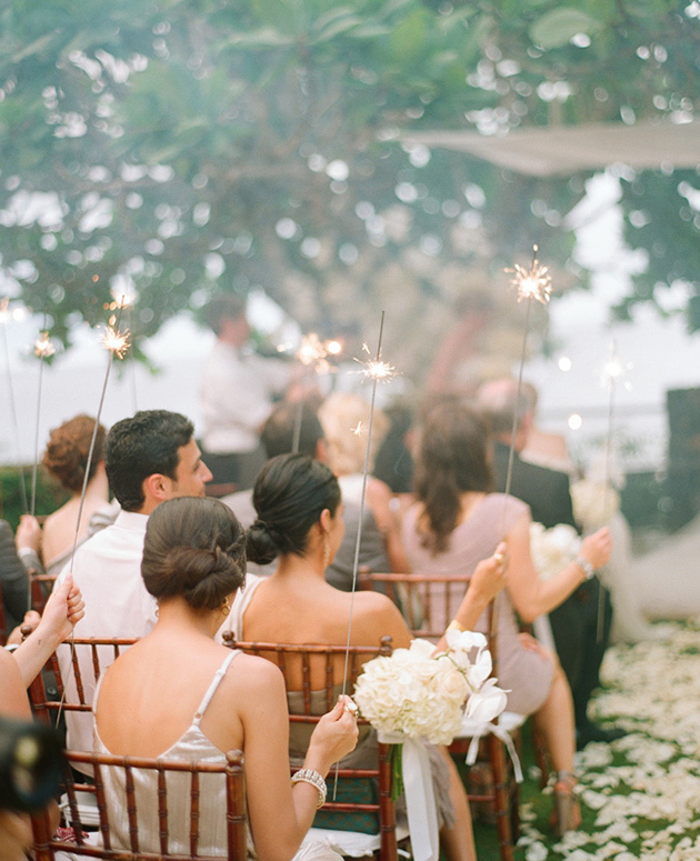 Wedding sparklers at an outdoor weddings