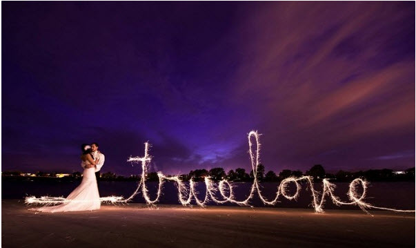 Wedding Sparklers spell true love