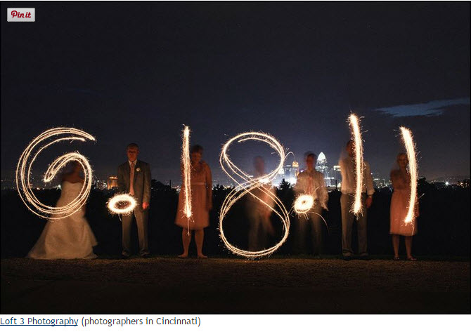 Wedding Sparklers spell wedding date