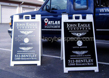 Plastic a-frame sign stands for your business or event. Portable, easy to carry & store.