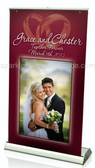 Wedding Banner Stand & Banner. Use for the wedding & for anniversary parties throughout the years. Change the banner & use for other events in your life.