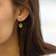 Dainty Hammered Disc Earrings