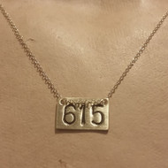 Handstamped Nashville Area Code 615 Necklace