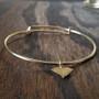 Bracelet - Gold Filled - Hammered Brass State Charm - Adjustable
