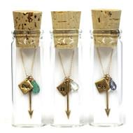 Custom Arrow Charm Necklace in a Bottle
