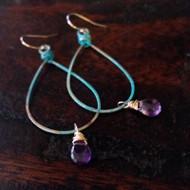 Lola Patina Loop & Gemstone Earrings
