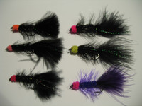 Egg sucking leach flies, great for steelhead and salmon.  These flies can be used with a fly rod or fun under a float well centerpin fishing