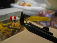 Bass Popper Yellow W/ Red Stripe  2pk.