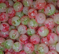 CREEK CANDY BEADS Blood Shot Cherry Lime 8mm SINKZ (15 pack)