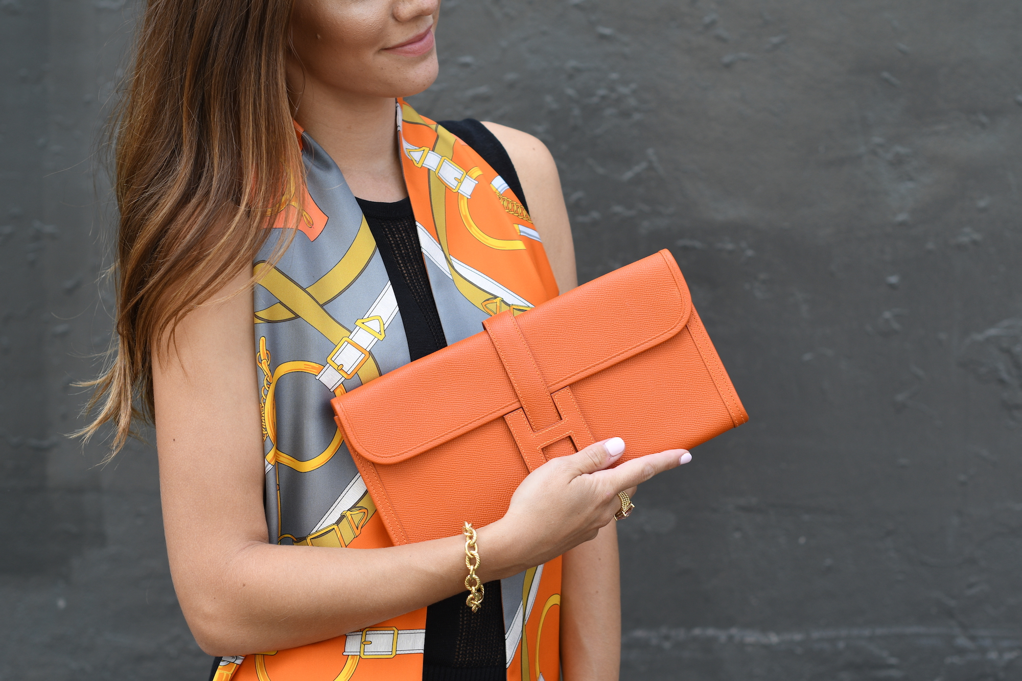 Orange Epsom Hermes Clutch
