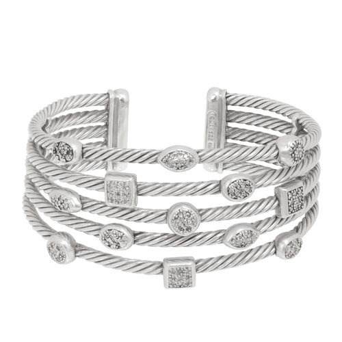 David Yurman Sterling Silver & Diamond Confetti Wide Cuff