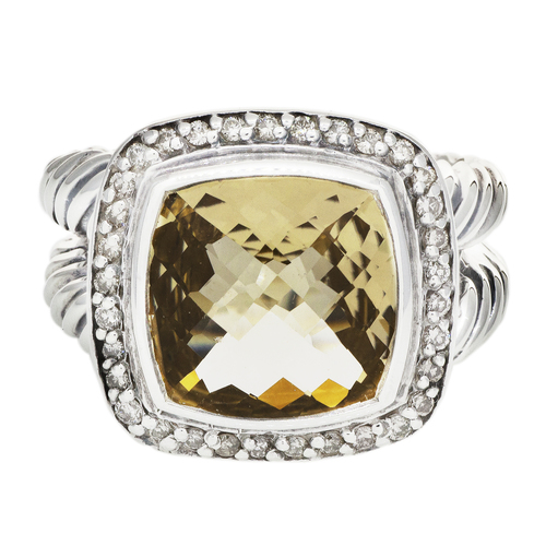 David Yurman Sterling Silver, Diamond & Champagne Citrine Albion Ring