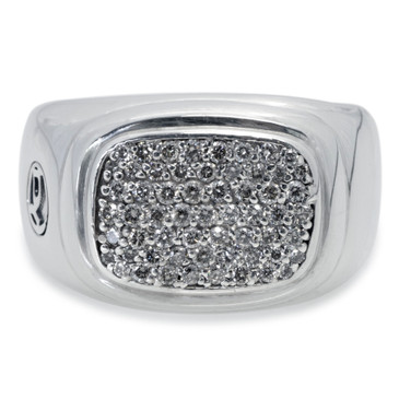 David Yurman Sterling Silver & Diamond Pave Signet Ring