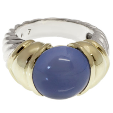 David Yurman 14K & Sterling Silver Chalcedony Cable Ring